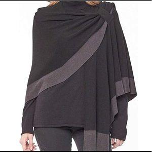 Parkhurst Black & Gray sweater wrap one size